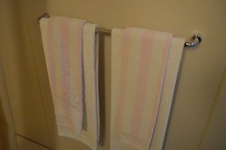 Towels that were replenished daily, but changed colour due to poor laundry