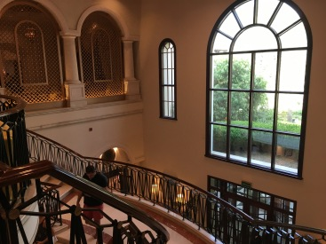 Grand staircase leading to pool levels and restaurants